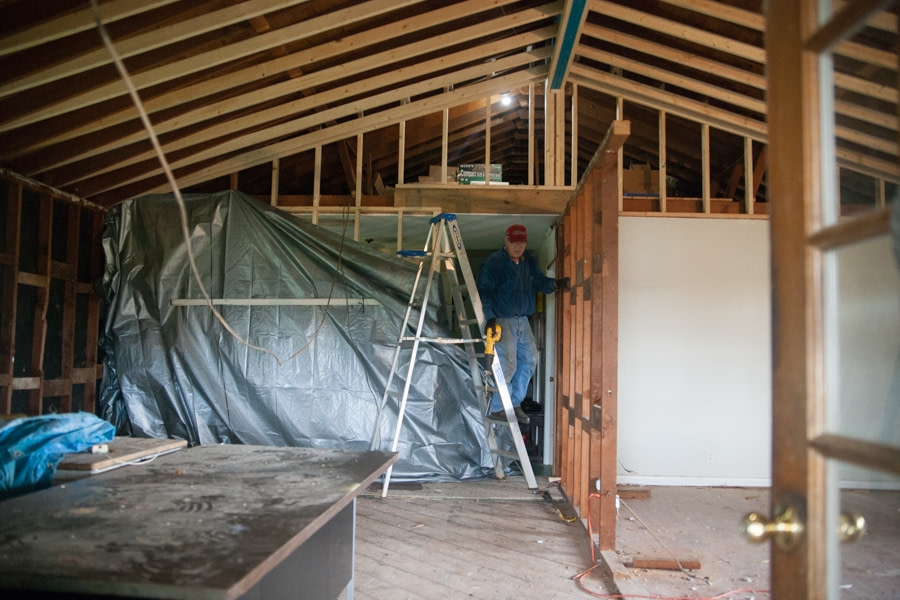 The load bearing wall is exposed truss design