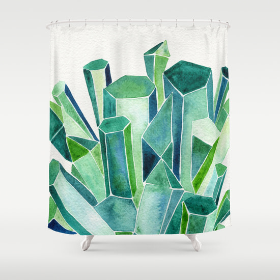 emerald watercolor curtains