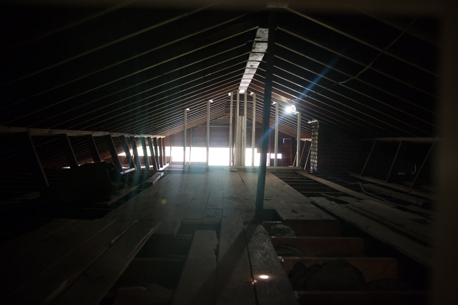 attic crawlspace with beam supports